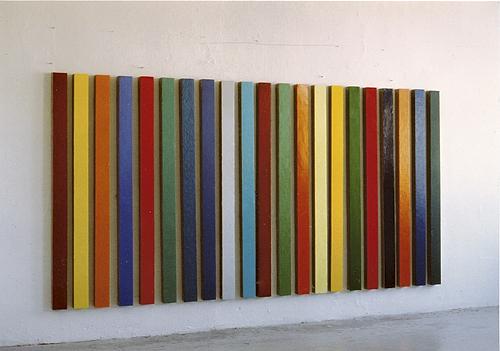 Rebecca Michaelis - Times Square (2) 2003, oil on canvas, 148 x 9 x 5 cm