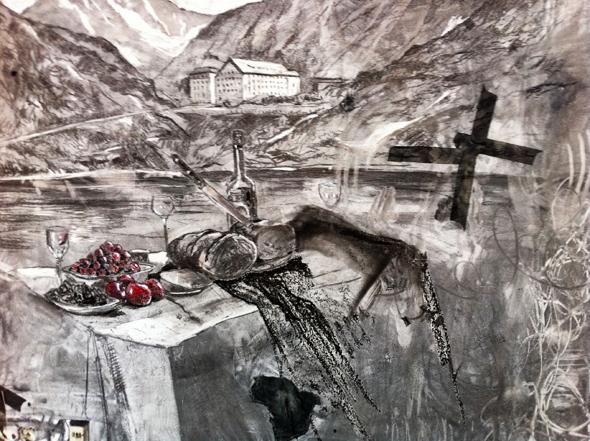 Nikhil Chopra, Broken White II, 2011, studio wall detail, courtesy of Florence Reidenbach