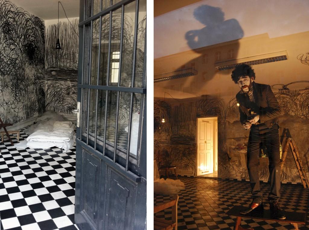 Nikhil Chopra, Broken White II, studio space and performance view, 2011