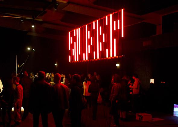 "Michael Krenz - ""The Big Sleep"" (2011), aluminum, neon lights"