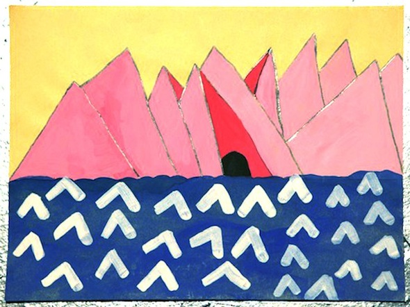 """Pink Vaginas"" (2009), acrylic on paper, 8 x 11 inches"