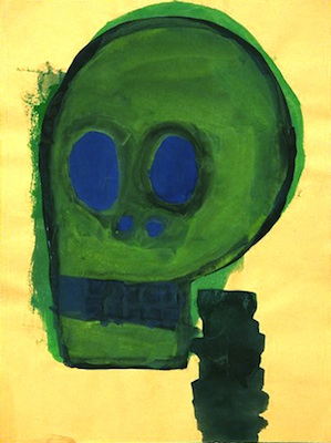 """Green Skull"" (2009), acrylic on paper, 8 x 11 inches"