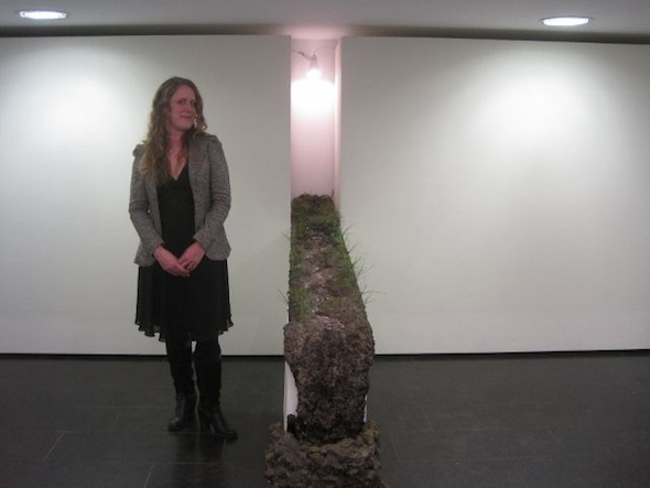"Kathleen Vance (artist) with ""Running Stream"" installation"
