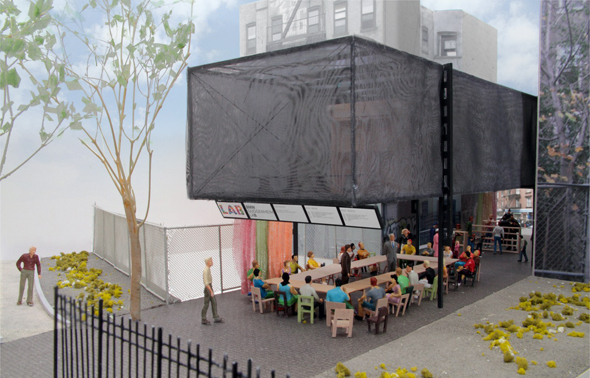 BMW Guggenheim Lab Architects' model, New York City site View from Houston Street, showing a workshop setting;  photo: courtesy Atelier Bow-wow