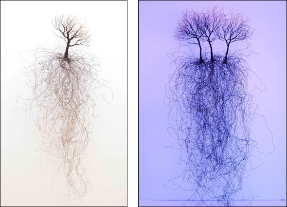 """(Left)""""Love You Forever"""", copper wire sculpture, 72h x 28w in.; (Right)""""I'm Blue"""", acrylic paint and copper wire sculpture, 72h x 28w in."""