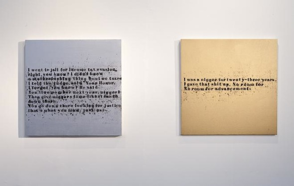 """Glenn Ligon - """"Just Us #3"""" (2005), oilstick and silver paint on canvas; and """"No Room (Gold) #40""""  (2007), oil and acrylic on canvas; Zabludowicz Collection, 2012."""