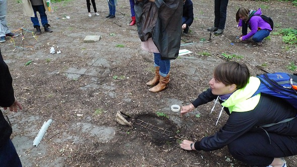 Process Institute's interactive session 'No Comfort Land' in the Plänterwald. Photo by Catherine Grau