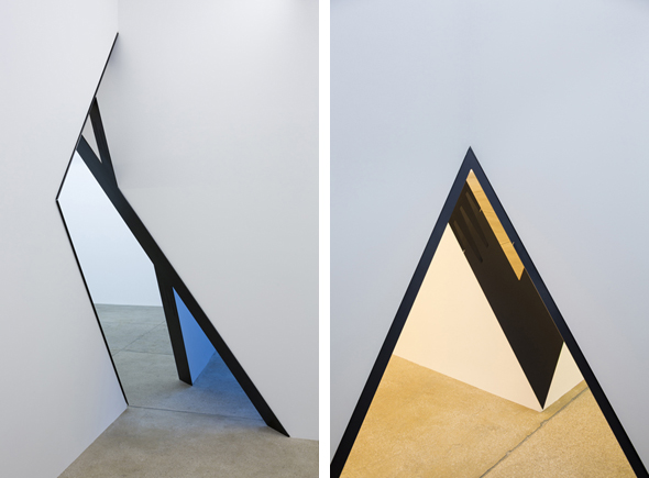 "Sarah Oppenheimer ""D-33"" (2012), Installation View, aluminium, glass and existing architecture, Courtesy of the Artist and PPOW Gallery, New York"
