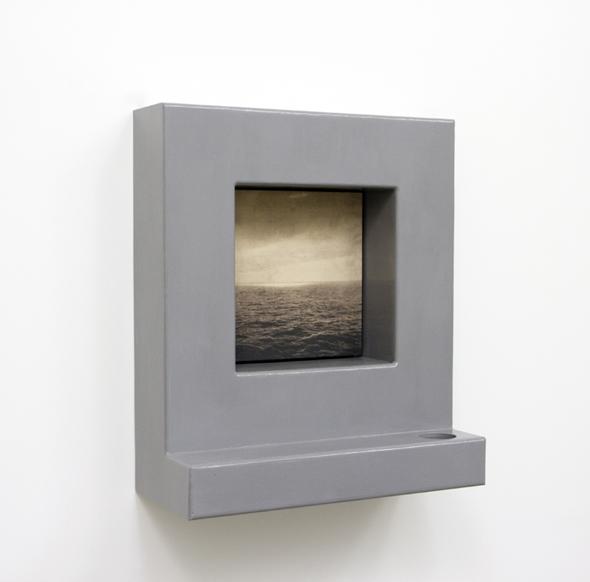 "Grayson Cox - ""The Interface"" (2012), wood, enamel, bleach on canvas"