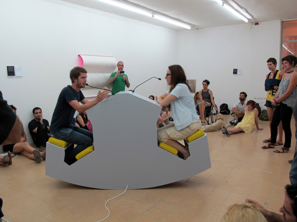 """Grayson Cox - """"Ergonomic Discussion Lectern"""" (2010), installed at the Bezalel Academy in Tel Aviv, Israel"""