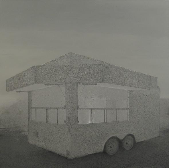 """Grayson Cox - """"Portable Shrine (Trailor)"""" (2009), enamel and acrylic on canvas"""