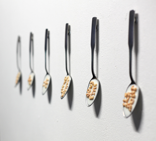 "Tibi Tibi Neuspiel (CA) – ""Les événements;"" (2012); 6 x alpha-bits, beeswax, pigment, varnish, steel, epoxy, spoon; 20 x 4,5 x 1cm (each); photograph by Rian Davidson"