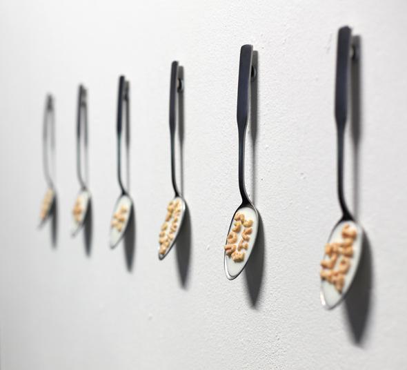 "Tibi Tibi Neuspiel (CA) – ""Les événements;"" (2012); 6 x alpha-bits, beeswax, pigment, varnish, steel, epoxy, spoon; 20 x 4,5 x 1cm (each); photograph by Rian Davidson"