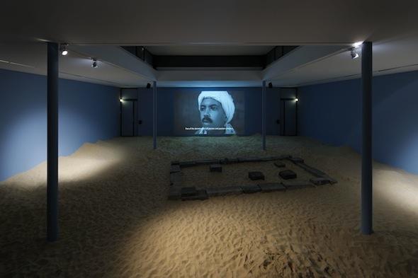 "Wael Shawky – ""Al Araba Al Madfuna"" (2012), Video, B&W, 21 min, KW Institute for Contemporary Art 2012, Installation view; photo by Uwe Walter"