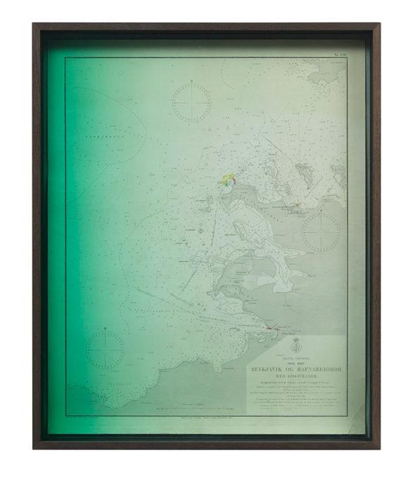 "Olafur Eliasson - ""Emerging Reykjavik og Hafnarfjördr;"" (2012), smoked oak, coloured glass (green), cardboard, historical bathymetric map of Iceland (first printed 1892), mounted on canvas; 61,2 x 75,2 x 7,5 cm; copyright Olafur Eliasson 2012; photo by Jens Ziehe, courtesy neugerriemschneider, Berlin"