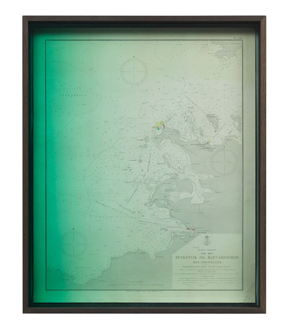 "Olafur Eliasson - ""Emerging Reykjavik og Hafnarfjördr;"" (2012), smoked oak, coloured glass (green), cardboard, historical bathymetric map of Iceland (first printed 1892), mounted on canvas; 61,2 x 75,2 x 7,5 cm; copyright Olafur Eliasson 2012; photo by Jens Ziehe, courtesy neugerriemschneider, Berlin"