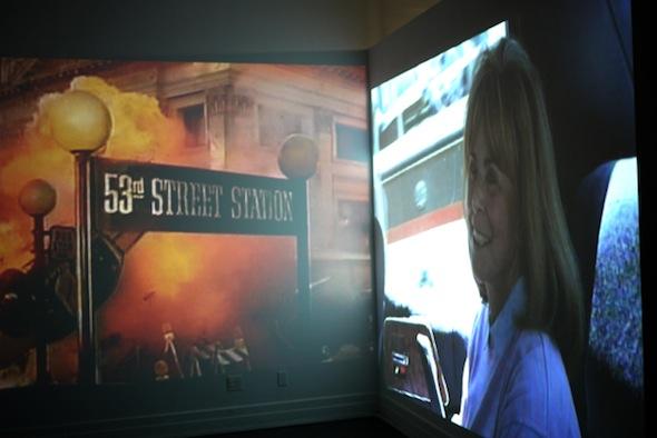 "Installation shot from ""A Wake,"" NYC, 2012 including shots of Tracey Moffatt's ""Doomed"" Video and Paul Rascheja's ""Crash"" Series."