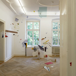 "Diana Sirianni - ""Wildwuchs"" (2012), Acrylic paint, cardboard, foil, paper, plexiglass, silicone rubber, wood, nylon thread, Dimensions variable (Installation shot)"