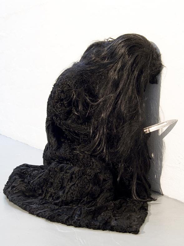 "Jan Van Oost -""The Knife"" (2004), furcoat, knife, hair, puppet, life size"