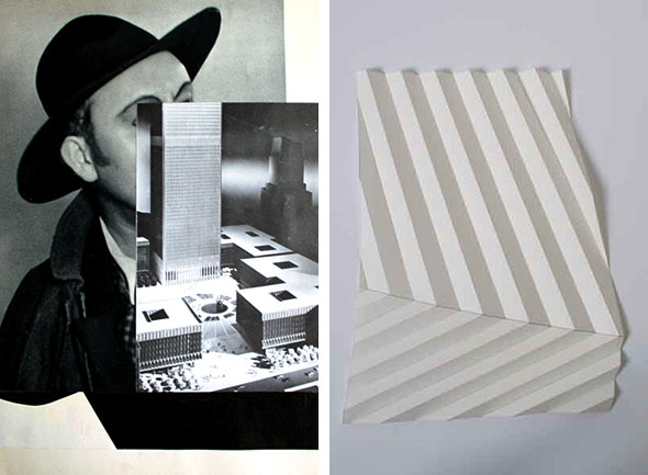 "(left) Iris Touliatou - ""00 (zero zero) MR.MR -chiaroscuro-"" (2012), collage on paper (artist frame), 20 x 30 cm; (right) Sinta Werner - ""Abschattungen VI"", folded paper, 30x21cm"