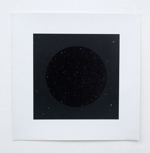 "Travor Lloyd - ""Untitled (Suprematist Composition No. 3 version 2)"" (2012), black felt-tip pen on planet earth poster, 30 x 30 cm"