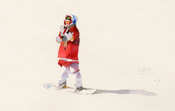 "Lee Sangwon - ""Snow boarder"" (2012), watercolor on paper"