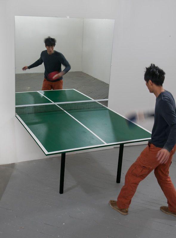 """Trong Gia Nguyen """"Win, Win"""" (2013) Mirror, wood, paint"""