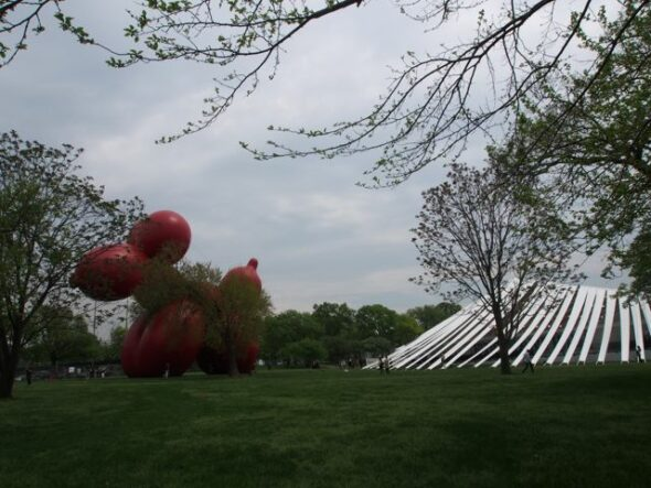 Paul McCarthy's 80ft-high inflatable Balloon Dog sculpture, ( sold for $950,000)