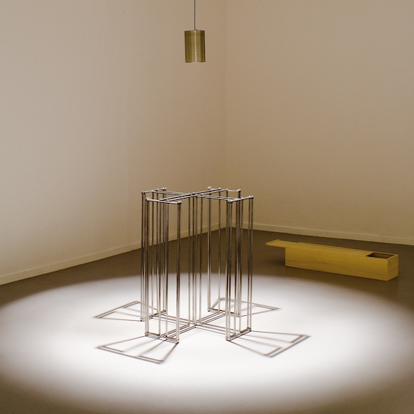 Leonor Antunes, Modo de usar #11, 2005, wooden box with engraving, aluminum, aluminum wing-nuts, 1 book, 2 acrylic protractors, 1 stainless steel lamp