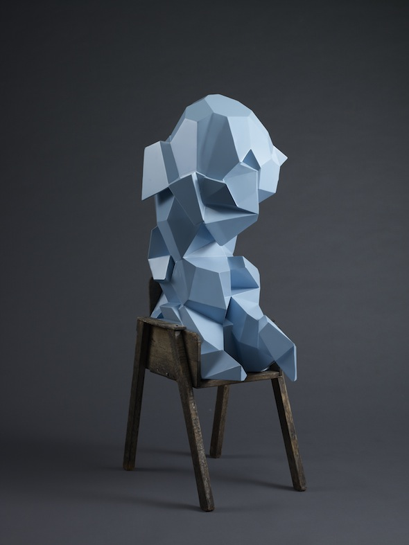 "Jud Bergeron - ""The Crystaline Baby (Fletcher)"" (2008-2011); fabricated steel, automotive paint, found chair, 48 X 24 X 20 inch; courtesy of Jud Bergeron"