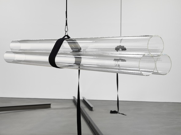 Natalia Stachon, Drift 03, 2012, 6 plexiglass tubes, 2 tension straps, 2 stainless steel straps tensioners, cord, stainless steel hooks, overall dimension variable, Ed.1/1