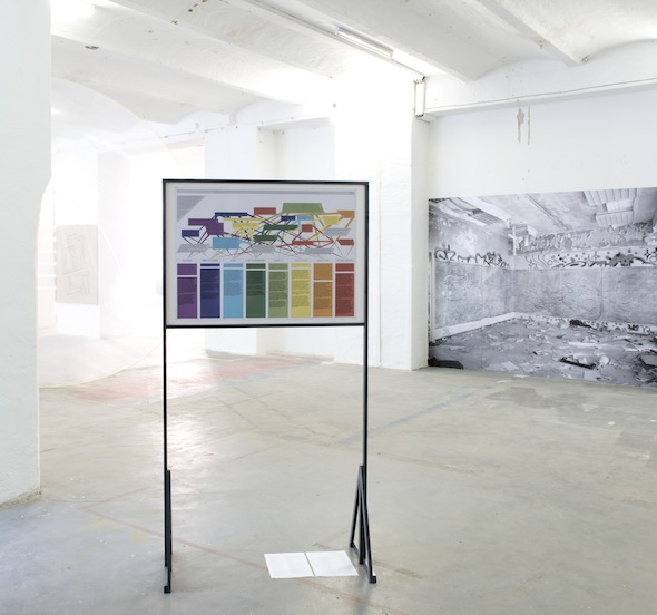 "Max Stocklosa – ""Inexhaustive Overview of Immaterial and Material Information Handling"", Sophie-Therese Trenka-Dalton – ""The Royal Lion Hunt (Iraqui Embassy Berlin-Pankow)"", installation view, photo: Philipp Külker"