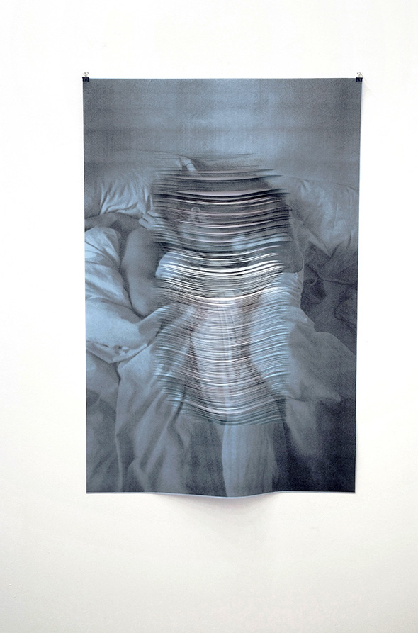 "Melissa Steckbauer, ""S&B (blue, bed)"" (2013), cut paper, 126 x 84 cm; courtesy of Liebkranz Galerie"