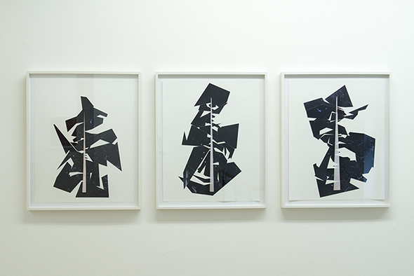 "Tobias Becker - ""Maßnahme"" (2013), from left to right; ""Die Reester"", ""Die Belgau"", Der Zweifel"", framed collage, 40 x 30 cm; photo: Alex Marcus, courtesy of Galerie Hunchentoot"