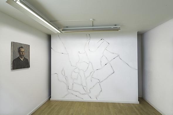 "Tobias Becker (left) ""Eines Tages""(2013) ink on oil portrait, 60 x 50 cm; (right) ""Angenommen"" (2013), acrylic, parchment paper and glue; photo: Alex Marcus, courtesy of Galerie Hunchentoot"