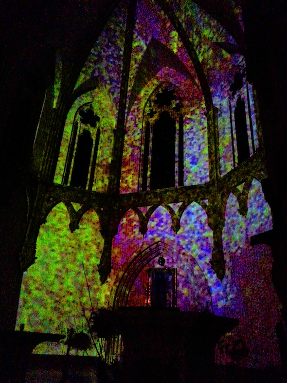 """Berlin Art Link, Aurora 2013, Anne Katrine Senstad, """"Colour Synesthesia, Version IV – Silent version"""", Projection at he Cathedral Shrine of the Virgin of Guadalupe; Photo courtesy of the artist"""