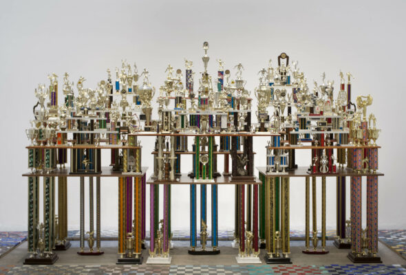 """Berlin Art Link, Absolut, Ry Rocklen, """"Second to None"""" (2011), trophies, trophy parts, wood Courtesy the artist"""