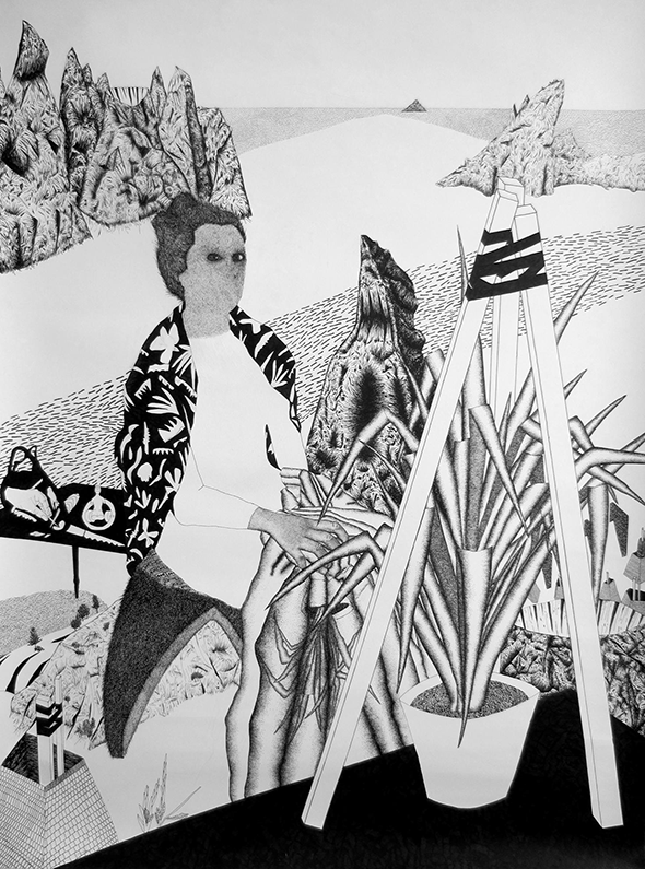 "Aspasia Krystalla ""Die Versoehnung"" (2014), ink on paper, 120 x 150 cm, photo courtesy of the gallery"