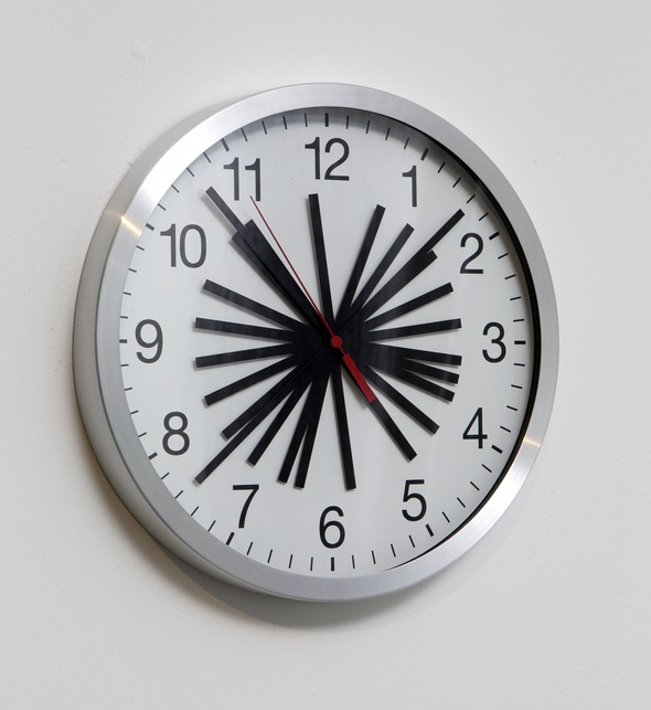 Patricia Reed, Perfect Present (2013), Modified industrial clock, diameter: 11 3/4 in.