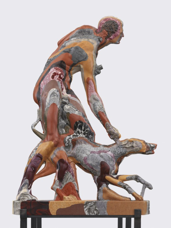 "Oliver Laric ""The Hunter and the Dog"" (2014) unique cast with polyurethane, jade powder, bronze powder, aluminium powder, pigments, 90 x 66 x 6 cm, photo courtesy of the gallery"