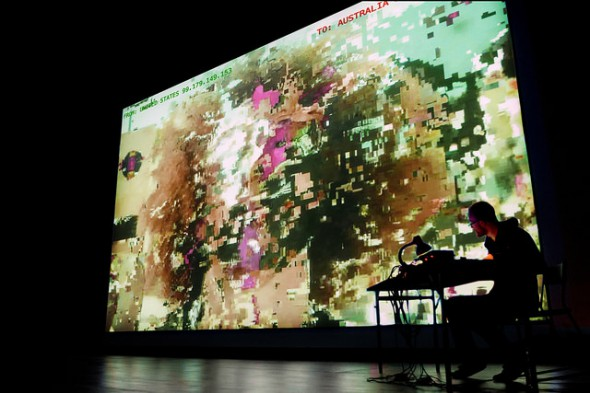 """Brendan Howell and Nicolas Maigret """"The Pirate Cinema"""" (2014), photo courtesy of transmediale and Justin Desforges"""
