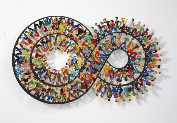 "David Gerstein ""Endless Walk"" (2010), hand painted steel cutout, 3 layers, 95 x 160 cm, photo courtesy of the India Art Fair"