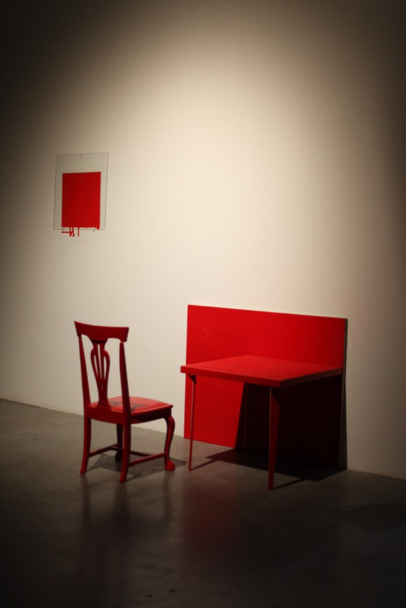 "Dale Henry, ""Interiors: Pure Cadmium Red Medium (Bath)"" (circa 1979), installation view at Pioneer Works, Center for Art and Innovation (2014), photo courtesy of Dave Potes"