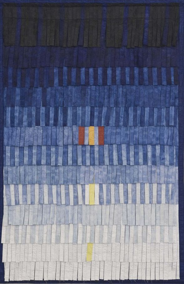 "Abdoulaye Konate ""Composition No. 15 (bleu-jaune)"" (2014), textile, 206 x 134 cm; photo courtesy of Blain Southern, copyright of Christian Gläser"