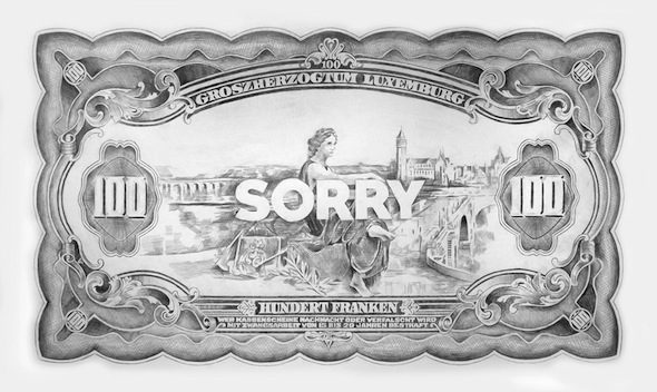 "Filip Markiewicz - ""Sorry"" (2015), crayon sur papier, 250 x 130 cm; copyright of the artist"