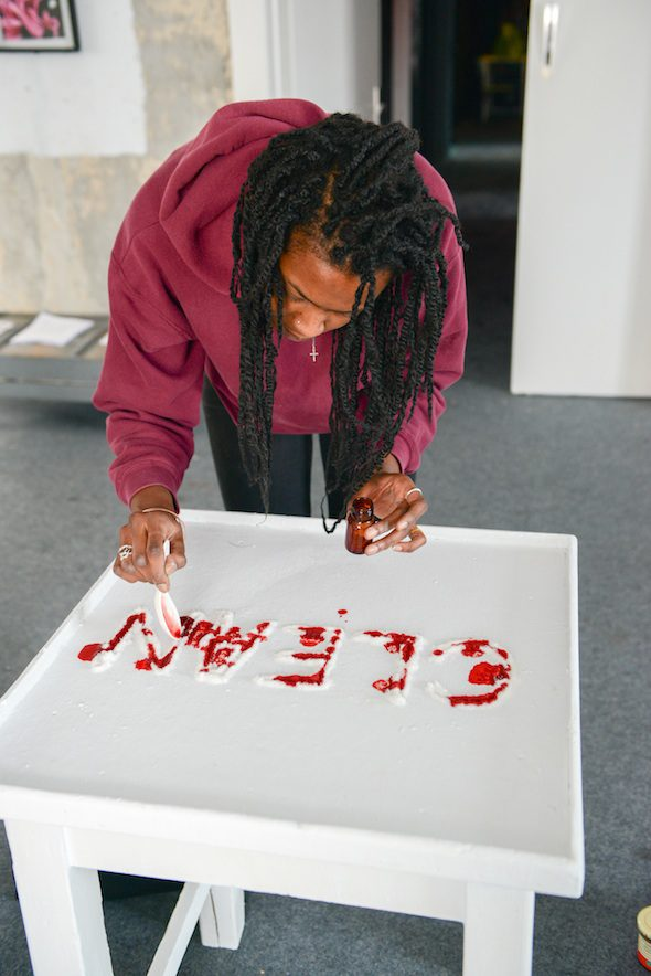 Kandis Williams Installation Shot at Neu West Berlin; Photo by Jason Harrell