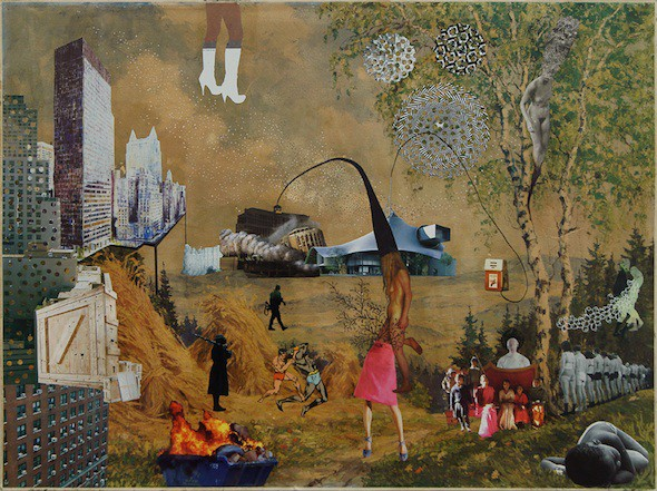 """Raquel Paiewonsky – """"Scapes"""" (2015), Series of mixed media collages on aged traditional landscapes, Variable dimensions; Courtesy of the artist"""