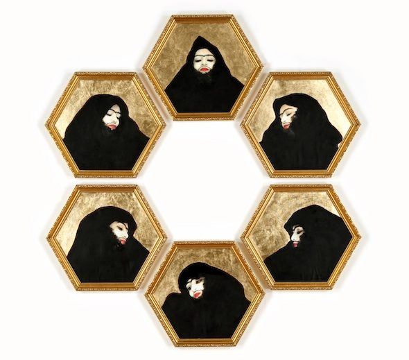 "Monira Al Qadiri - ""The Tragedy of Self"" (series 3), 2009. Photographs with gold leaf on canvas, 120 x 130 cm"