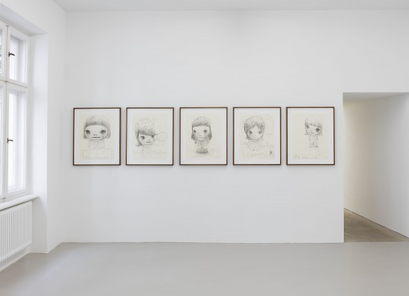 """Yoshitomo Nara - """"Bloodthirsty"""" (2015), pencil on paper, 65 x 50 cm (framed); """"Love or Nuclear"""" (2015), pencil on paper, 65 x 50 cm (framed); """"One, Two, Trees on the Head"""" (2015), pencil on paper, 65 x 50 cm (framed); """"System, Violence and Force"""" (2015), pencil on paper, 65 x 50 cm (framed); """"Not all the flowers have gone away"""" (2015), pencil on paper, 65 x 50 cm (framed); (left to right); photo by Andrea Rossetti, courtesy of the artist and Johnen Galerie, Berlin"""