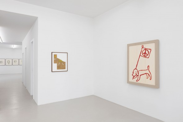 """Yoshitomo Nara - """"Nothing's gonna change even if you give up"""" (2014), colored pencil on cardboard, 55 x 44,5 cm (framed), """"Untitled"""" acrylic on wood, 136,1 x 101,3 x 9 cm (framed); (left to right); photo by Andrea Rossetti, courtesy of the artist and Johnen Galerie, Berlin"""